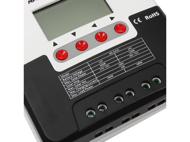 SR-ML2420 12V//24V 20A MPPT Solar Charge Controller LCD Intelligent Panel Tracer