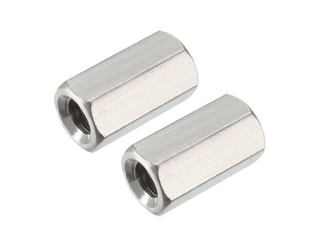 Pack of 2 M8 X 1.25-Pitch 24mm Length 304 Stainless Steel Metric Hexagonal Coupling nut