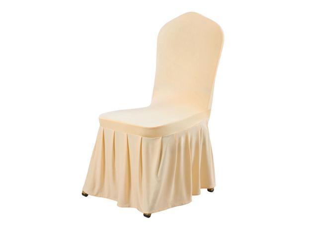 Fantastic Stretch Spandex Round Top Dining Room Chair Covers Long Ruffled Skirt Slipcovers For Shorty Chair Seat Covers Champagne Color 1Pc Short Links Chair Design For Home Short Linksinfo