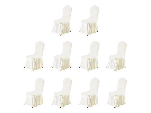 Stretch Spandex Round Top Dining Room Chair Covers Long Ruffled Skirt Slipcovers For Shorty Chair Seat Covers Beige 10pcs Newegg Com