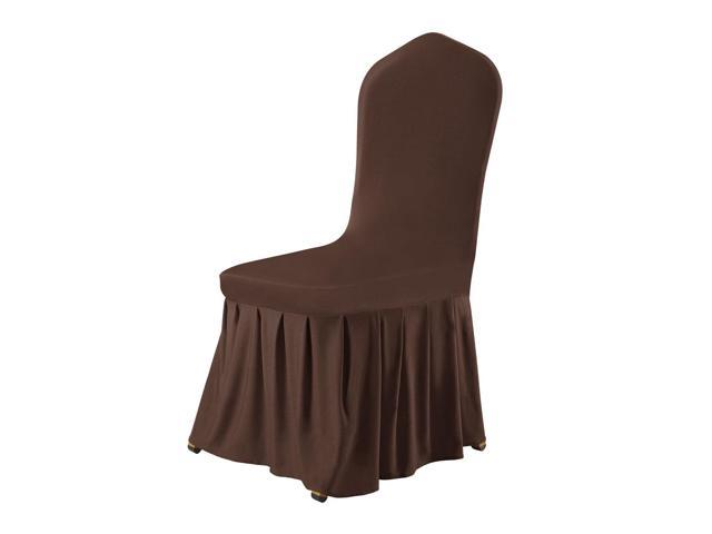 Fine Stretch Spandex Round Top Dining Room Chair Covers Long Ruffled Skirt Slipcovers For Shorty Chair Seat Covers Coffee Color 1Pc Newegg Com Short Links Chair Design For Home Short Linksinfo