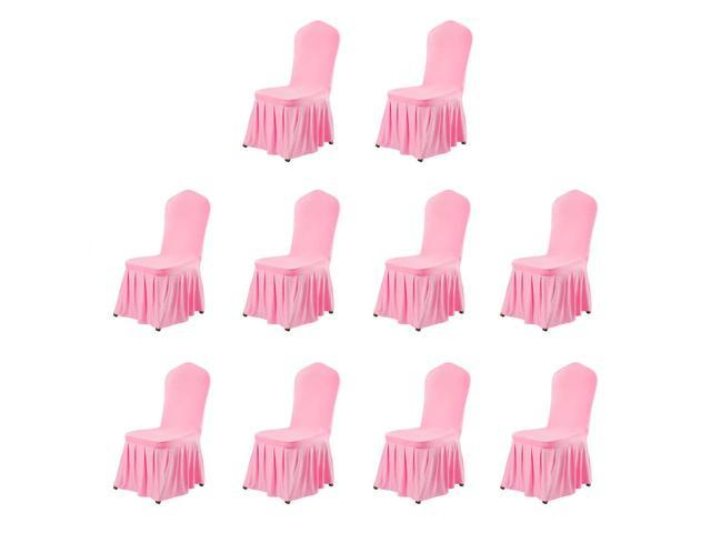 Stretch Spandex Round Top Dining Room Chair Covers Long Ruffled Skirt Slipcovers For Shorty Chair Seat Covers Pink 10pcs Newegg Com