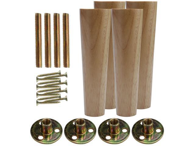 8 Inch Round Solid Wood Furniture Legs Sofa Bench Couch Chair Closet Cabinet Feet Replacement Height Adjuster Set Of 4 Newegg Com