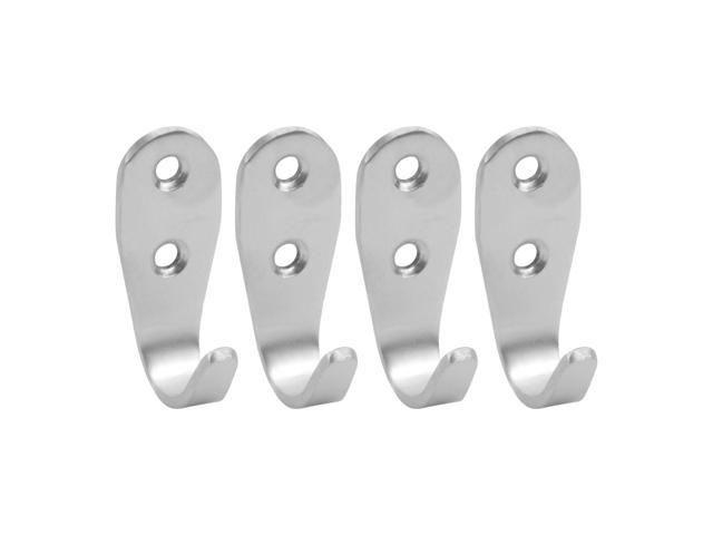 Useful 3mm Thickness Stainless Steel Hanger Wall Mount Hat Coat Single Hook 2Pcs