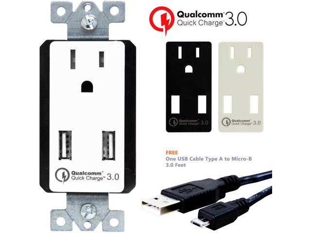 Cable Wall Outlet : Topgreener quick charge 3.0 dual usb wall charger outlet 15a tr