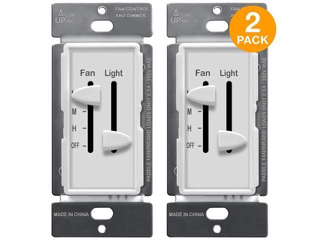 Enerlites 3 Speed Ceiling Fan Control And Led Dimmer Light Switch 2 5a Single Pole Light Fan Switch 300w Incandescent Load Neutral Wire Not Required 17001 F3 W 2pcs Newegg Com