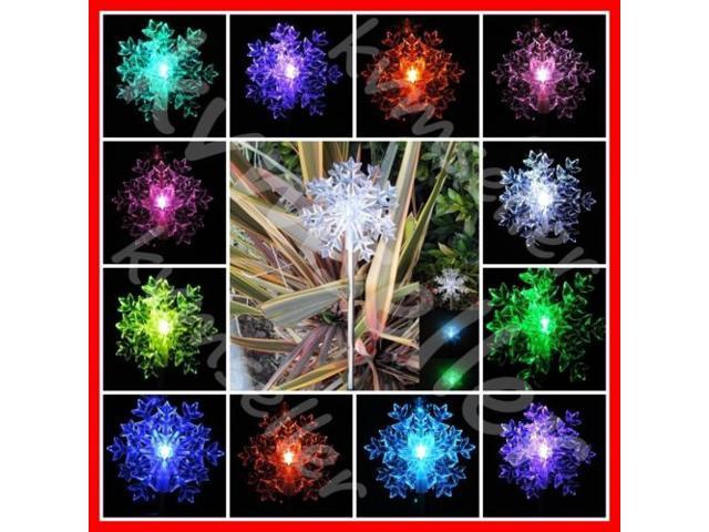Solar Ed Snowflakes Garden Yard Stake Color Changing Led Light