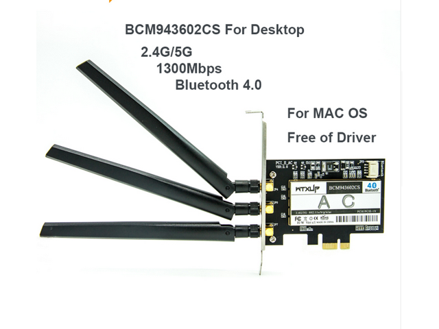 With chip Broadcom BCM943602CS 1300Mbps+450M Dual Band 802 11a/b/g/n  Desktop PCI-E Wireless Card PC wifi Adapter Bluetooth 4 1 for Windows
