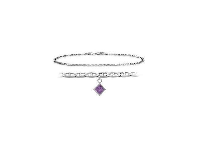 Genuine Sterling Silver 9 Inch Wheat Anklet with Genuine White Topaz Round Charm