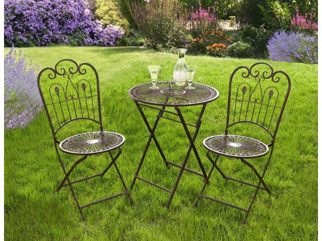 Provence Metal Folding Garden Bistro Set Table Two Chairs Warm Brown