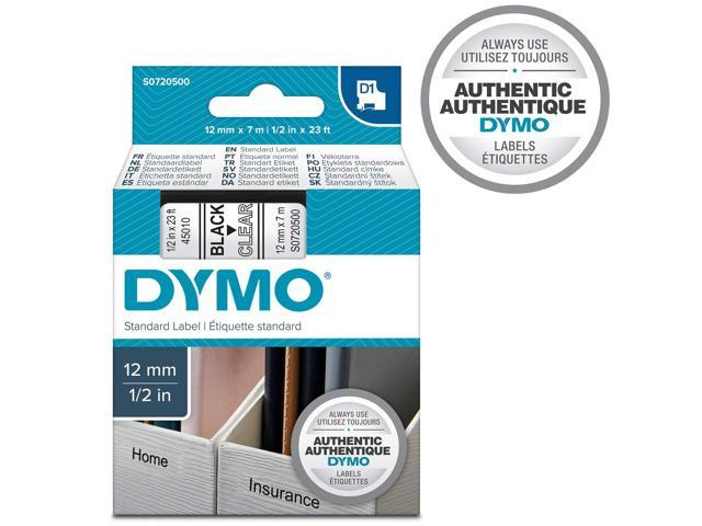 5PK for DYMO Standard D1 45010 Labeling Tape Black on Clear Tape 1//2/'/' W x 23/' L