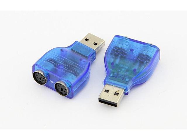 2pcs X Usb Male To 2 Dual Ps2 Female Converter Connecter