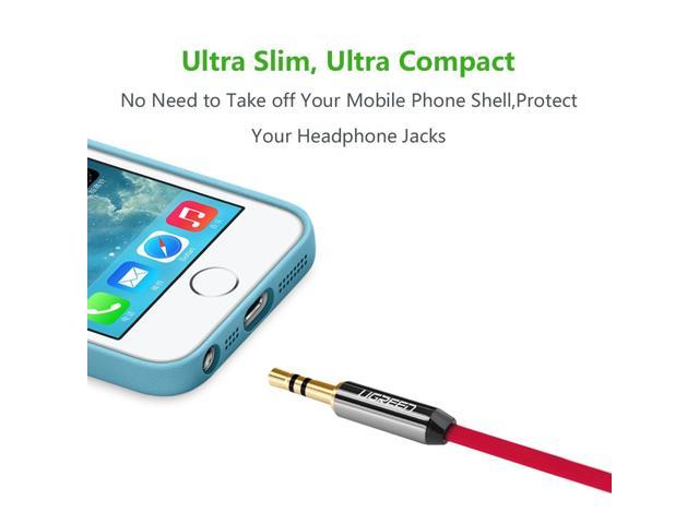 Smartphones Tablets and Speakers,24K Gold Plated Male to Male UGREEN 3.5mm Auxiliary Audio Jack to Jack Cable 90 Degree Right Angle for Apple iPhone iPad iPod Samsung 1.5FT, Red