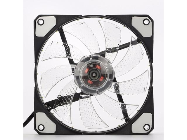 White 2 Pack 120mm LED Ultra Silent Computer PC Case Fan 15 LEDs 12V with Rubber Quiet Molex Connector Easy Installed Fan