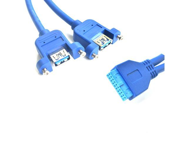 Cables Motherboard Header 20pin to Dual USB 3.0 A Female Adapter Panel Mount Cable Cable Length: 50cm, Color: Blue
