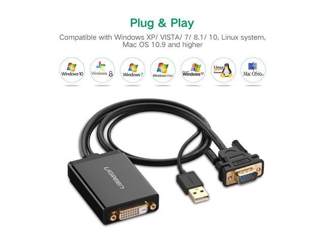 DVI-D 24+1 Male to VGA Female Adapter Cable Converter 2M from Laptop PC to Monitor Display or Projector-DVI-D 24+1 to VGA