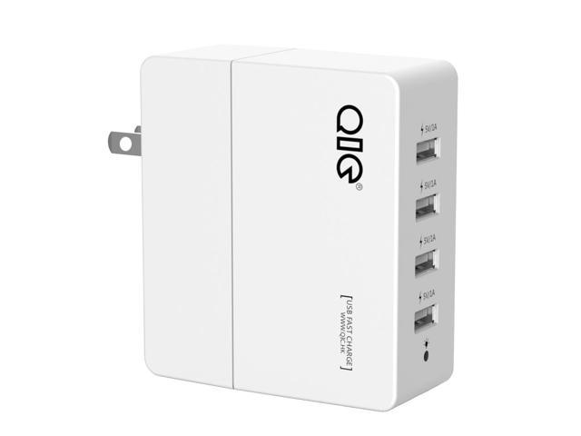 QIC WH4U-4A 4 Ports USB Wall Charger USB Travel for iPhone 6s / 6 / 6 Plus, iPad Air 2 / mini 3, Galaxy S6 / Edge / Plus, Note 5 and More