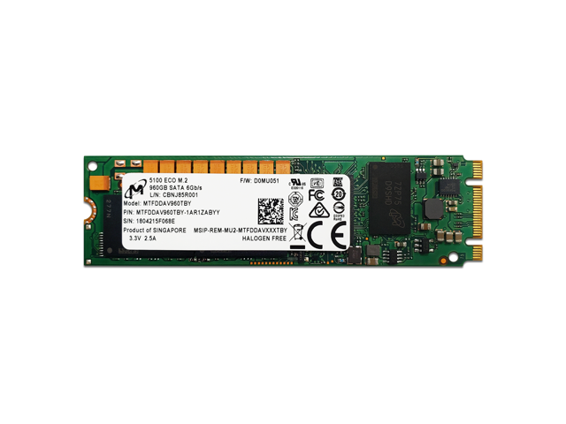 Micron 960GB (1TB) 5100 ECO Series 3D eTLC SATA III (6Gb/s) 80mm (2280) M 2  Self-Encrypting Drive (SED) Internal SSD - MTFDDAV960TBY-1AR1ZABYY