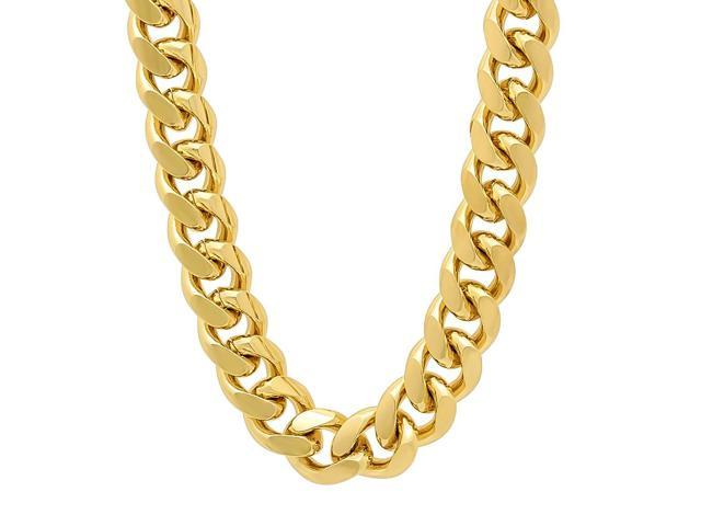 d6816869f56fe 11mm 14k Gold Plated Miami Cuban Link Curb Chain Necklace, 36