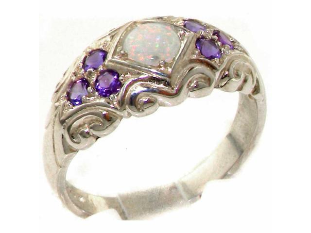 English 925 Solid Sterling Silver Genuine Natural Opal /& Amethyst Band Ring