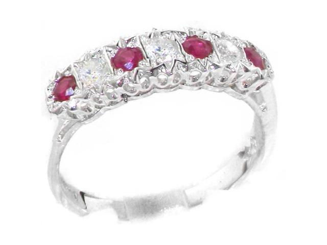 9k White Gold Natural Ruby Womens Solitaire Ring Sizes 4 to 12