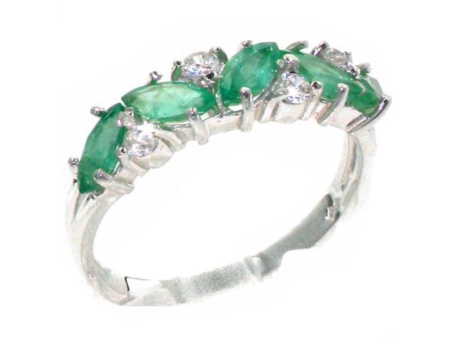 Solid 925 Sterling Silver Ladies Emerald /& 0.24ct 1//4ct Diamond Ring