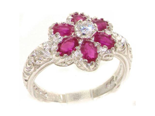 Sizes 4 to 12 9k White Gold Natural Ruby Womens Solitaire Ring