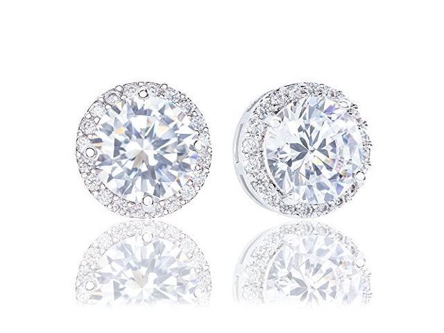 d45911449 18k Gold Plated Cubic Zirconia Round Halo Stud Earrings (3.45 carats ...
