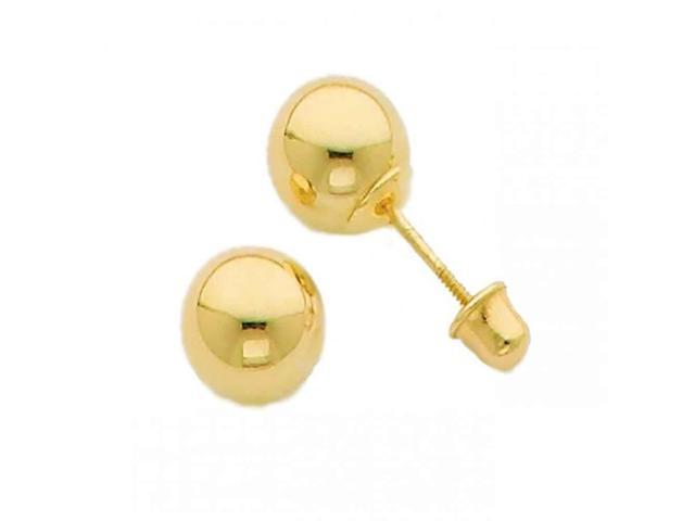 Earring Stud made with solid 14K Yellow Gold and Safety Screw Back 6mm.