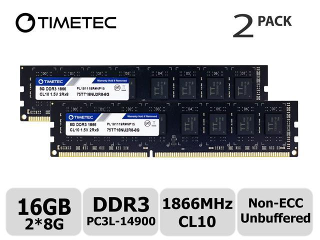 Timetec Hynix IC 16GB Kit 2x8GB 16GB Kit DDR3 1333MHz PC3-10600 Unbuffered Non-ECC 1.5V CL9 2Rx8 Dual Rank 240 Pin UDIMM Desktop Memory Ram Module Upgrade 2x8GB