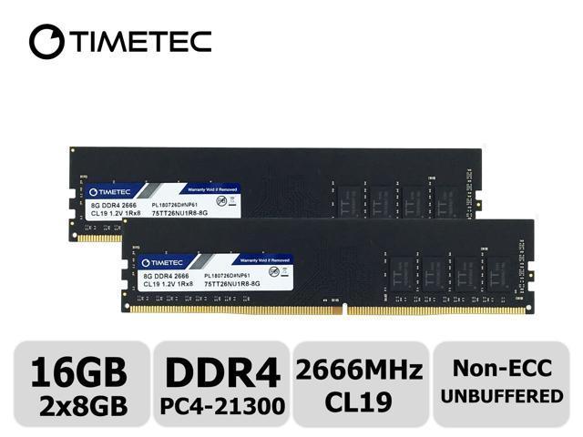 64GB 4x16GB DDR4-2400MHz PC4-19200 Non-ECC UDIMM 2Rx8 1.2V Unbuffered Memory for Desktop PC