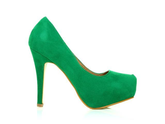 4997ffc2a73 H251 Green Faux Suede Stiletto High Heel Concealed Platform Court Shoes  Size US 8 - Newegg.com