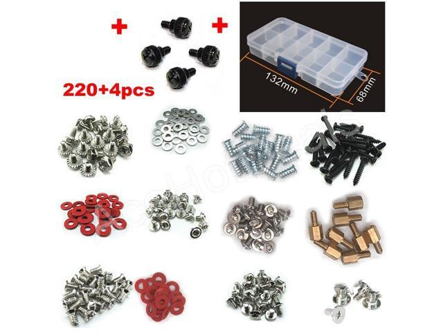 212+4pcs PC Case Screws Kit Thumbscrew Hard Drive Motherboard Fan Screw ToolBox