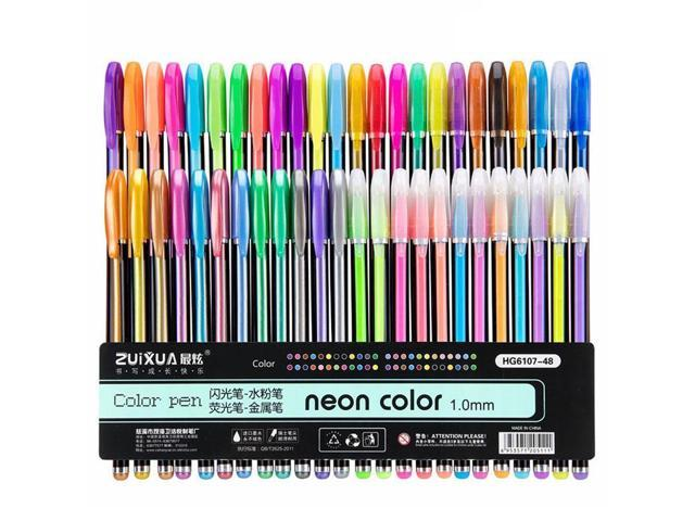 48pcs Color Gel Pen Glitter Scrapbooking Ink Pens Adult Drawing Painting-Art SKN