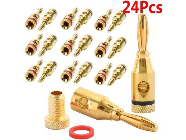 12 Pair Closed Screw Speaker Wire Banana Plugs Audio Gold Connectors 24pcs