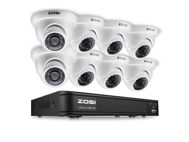 ZOSI 8CH Outdoor Dome Surveillance Security Camera System 1080p HD Night Vision