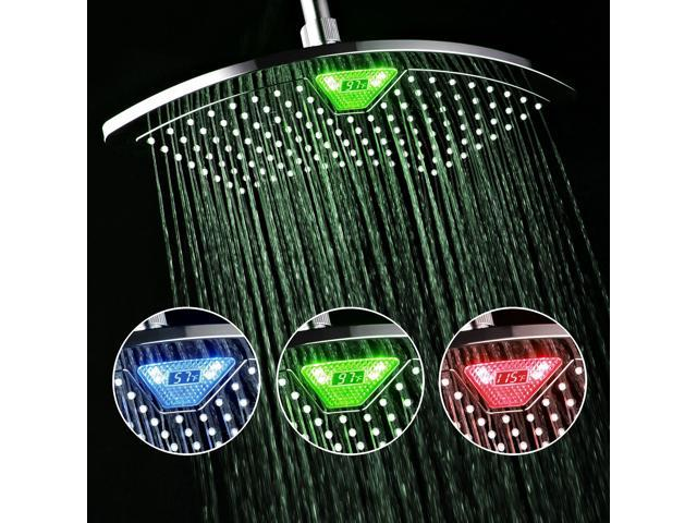 12, DreamSpa 1489 AquaFan 12 inch All-Chrome Rainfall Shower-Head with Color-Changing LED//LCD Temperature Display