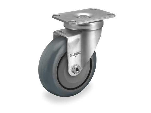 ZORO SELECT 1UHW8 Swivel Plate Caster,Rubber,3 in,200 lb,C