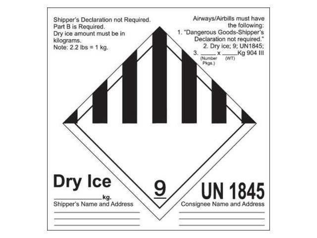Un1845 Dry Ice Label Labels Ideas 2019
