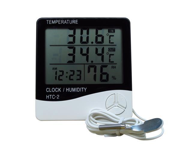 Digital Thermometer Hygrometer Humidity Sensor Meter Clock for Indoor Outdoor