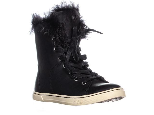 63ae2168352 UGG Australia Croft Sheepskin Lace Up Fashion Sneakers, Black, 6 US / 37 EU  - Newegg.com