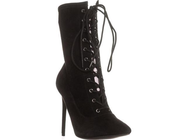 61e766b68b7 Steve Madden Satisfied Lace Up Ankle Boots, Black Suede, 8.5 US - Newegg.com