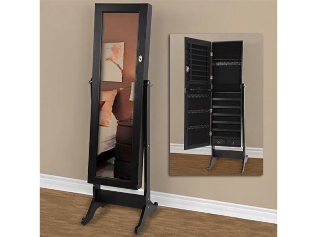 Full Length Mirror With Jewelry Storage Mirrored Jewelry Cabinet Armoire W  Stand Mirror Rings, Necklaces