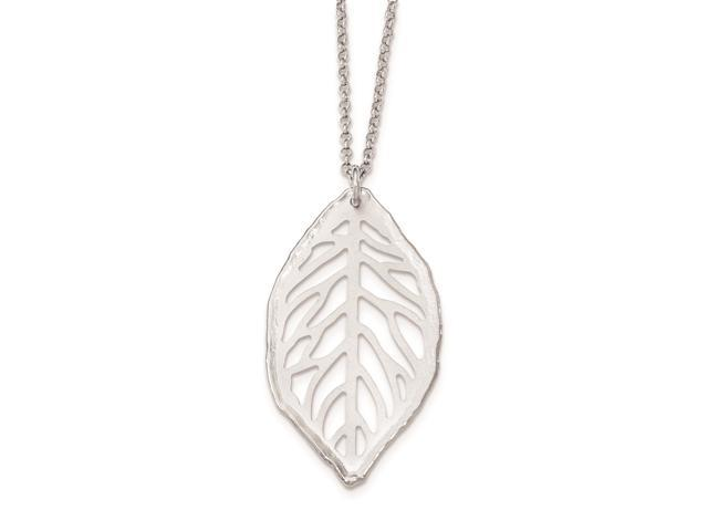 Sterling Silver 18in Satin Cut-out Leaf Necklace