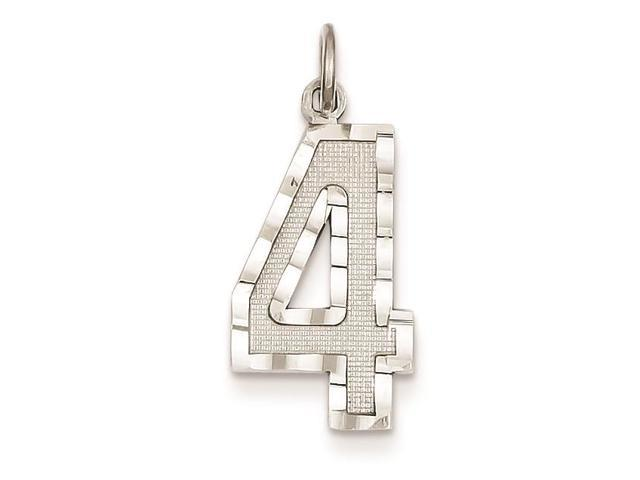 14k White Gold w Casted Large Diamond-cut Number 6 Charm