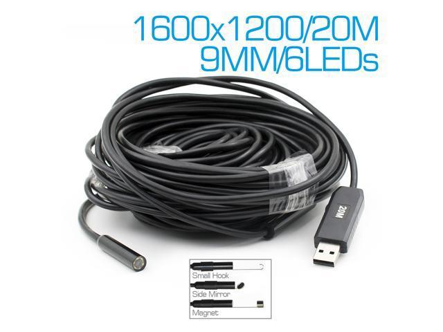 2MP 9mm Waterproof Mini USB Endoscope Inspection Camera HD 6 Led ...
