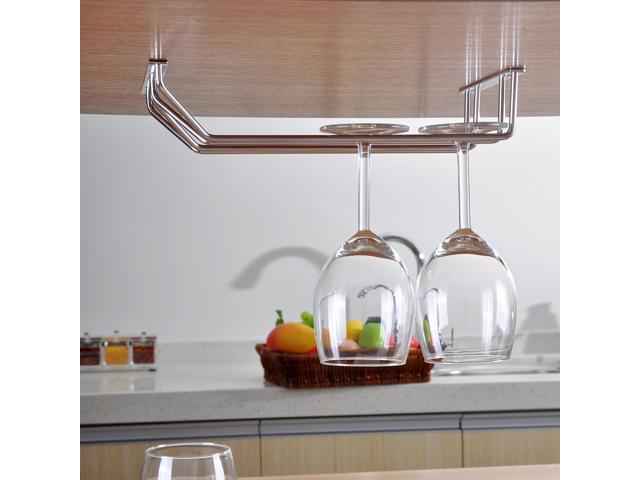 Double Row Glass Rack Stainless Steel Wine Glass Holder Under Cabinet  Stemware Rack Hanging Cup Holder