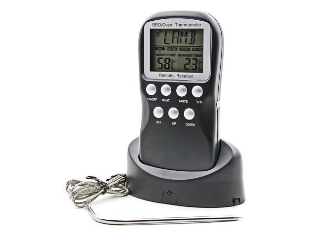 Digital Meat Thermometer Remote Wireless Kitchen Probe Food Thermometer Timer Cooking BBQ Meat Receiver & Transmitter