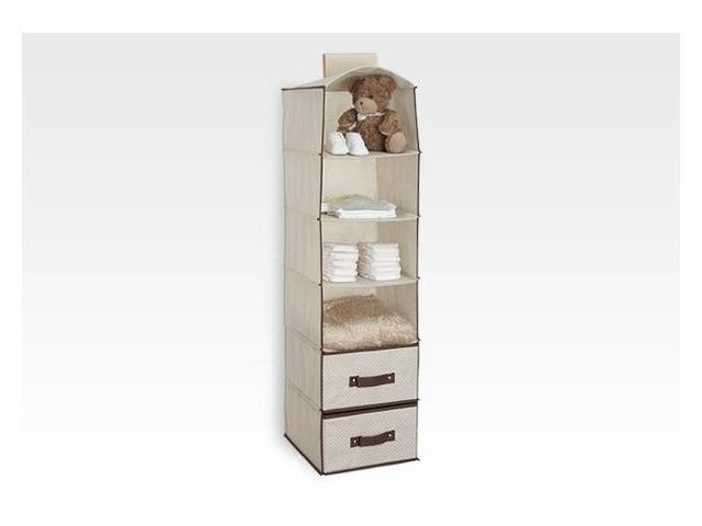 Genial Delta 6 Shelf Hanging Wall Closet Organizers With Two Drawers   Beige