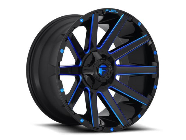 Fuel Wheels 20x9 >> 4 Fuel D644 Contra 20x9 8x170 1mm Black Milled Blue Wheels Rims 20